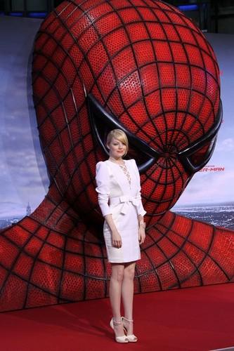 "Emma Stone wallpaper entitled Emma Stone & Andrew Garfield's ""Amazing Spider-Man"" Berlin Premiere"