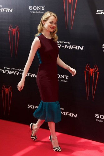 "Emma Stone and Andrew Garfield at the Madrid photocall for ""The Amazing Spider-Man"" (June 21)."