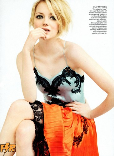Emma Stone wolpeyper probably with attractiveness, a brassiere, and a damit pan-loob called Emma Stone sa pamamagitan ng Mario Testino for Vogue US July 2012