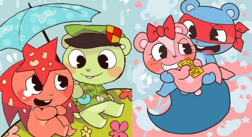 Flippy x Flaky and Splendid x Giggles - happy-tree-friends Photo