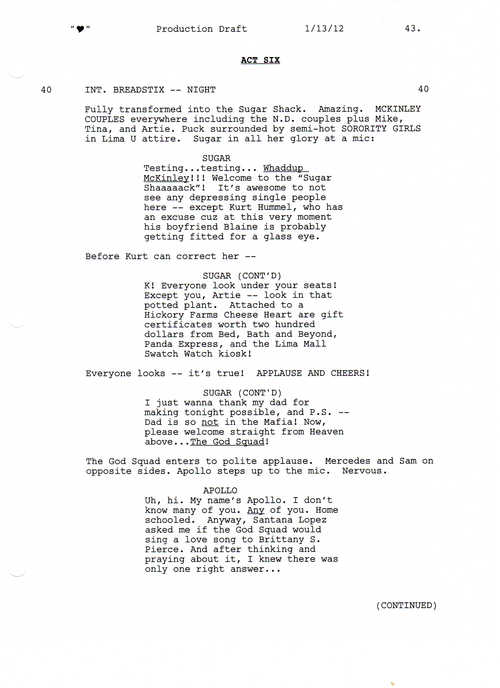 Full Script Scene: 3x12 Heart- Love Shack 1 of 5
