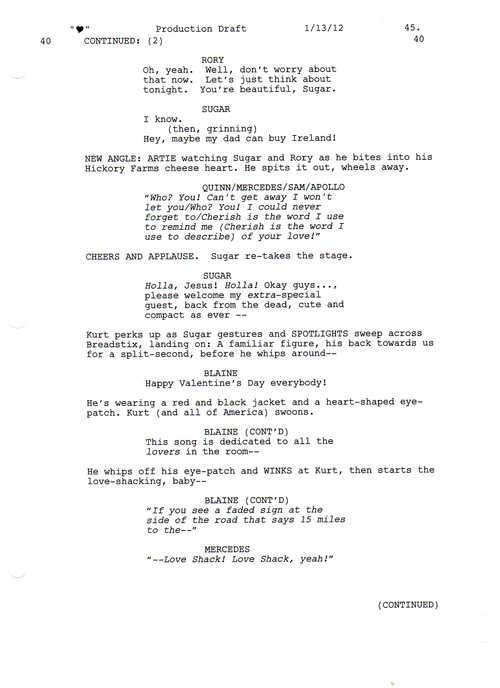 Full Script Scene: 3x12 Heart- Love Shack 3 of 5