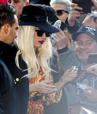 Gaga arriving at her hotel in Melbourne