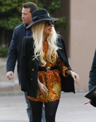 Gaga arriving at her hotel in Melbourne