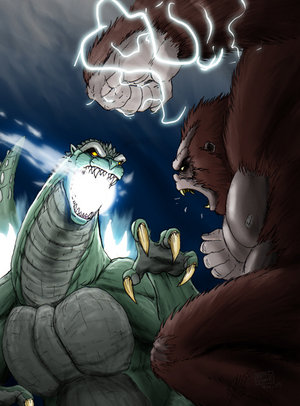 Godzilla wallpaper with anime entitled Godzilla vs King Kong