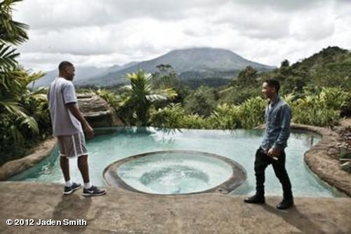 Jaden and his dad on set of after earth