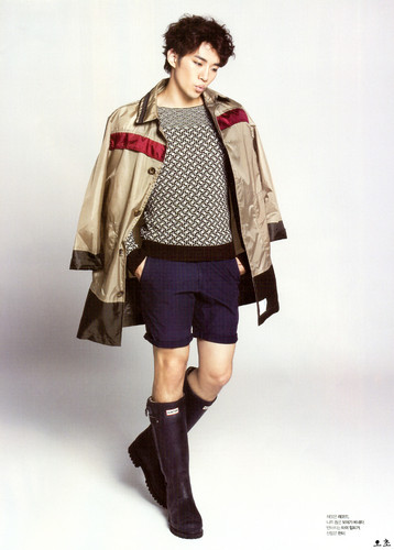 2pm wallpaper with an outerwear, a box coat, and a hip boot titled Junho for L'officiel Hommes
