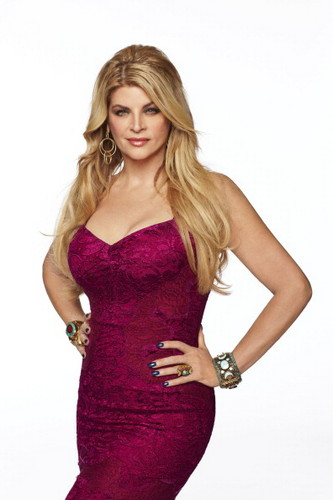 Kirstie Alley achtergrond probably containing a cocktail dress, a bustier, and a strapless titled Kirstie Alley
