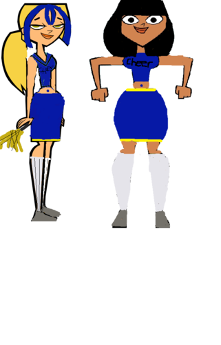 Lia and Bridgette as cheerleaders
