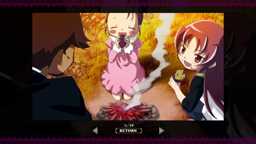 Momo with her sister and father in Puella Magi Madoka Magica Portable