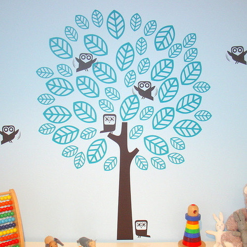 inicial Decorating fondo de pantalla probably with a sign entitled Night Owls On The árbol muro Sticker
