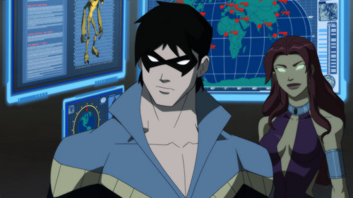 Young Justice Hintergrund titled Nightwing and Starfire