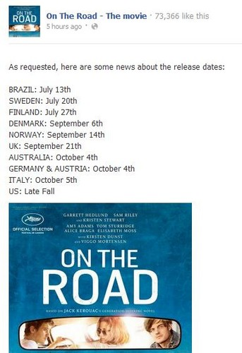 On The Road international release dates