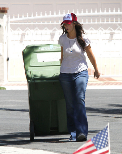 Jennifer Love Hewitt wallpaper probably containing a street, a dumpster, and a business suit titled Outside Her House In Toluca Lake [28 June 2012]