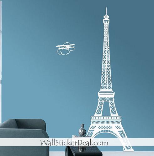 Paris Eiffel Tower with Plane Стена Sticker