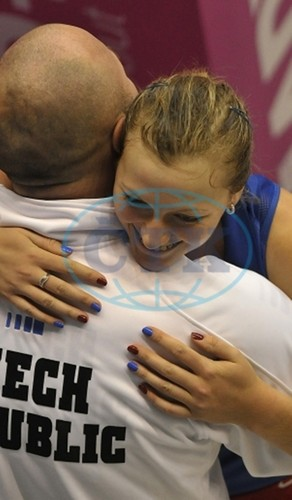 Petra Kvitova celebrates with coach David Kotyza..