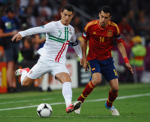 UEFA Euro 2012 wallpaper containing a soccer ball and a soccer player called Portugal v Spain