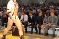 Rachel at the Versace catwalk during the Milan Men's Fashion show {23/06/12}