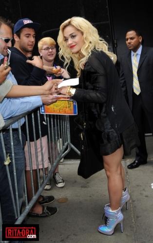 Rita Ora - Signing autographs at 'Good Morning America' - June 19, 2012