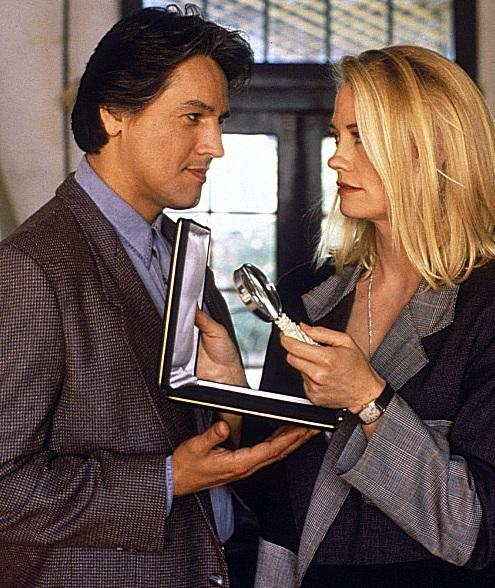 "Robert Beltran and Cybil Shepherd in the movie ""Stormy Weathers"" 1992"
