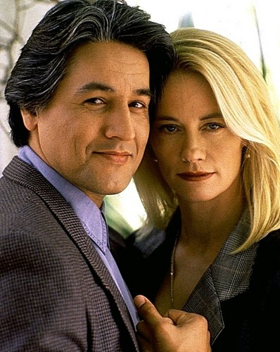 "Robert Beltran and Cybil Shepherd in the movie ""Stormy Weathers"" 1992"