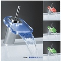 Single Handle Mount LED Glass Waterfall Bathroom Sink Faucet