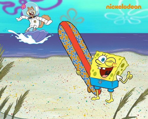bob esponja pantalones cuadrados fondo de pantalla containing anime called Spongebob & Sandy