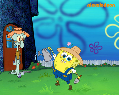 Spongebob Squarepants achtergrond containing anime entitled Spongebob & Squidward