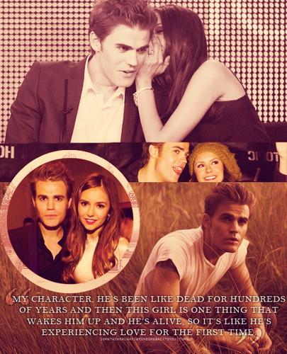 Stefan & Elena karatasi la kupamba ukuta probably with a sign and a mitaani, mtaa entitled Stelena ♥