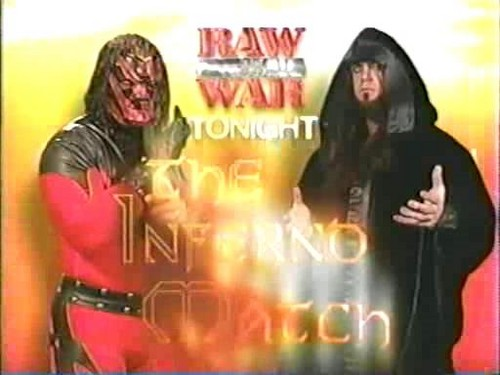 Undertaker achtergrond called The Undertaker vs Kane - Inferno Match Card, 1999