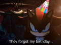 They forgot Shadow's birthday - shadow-the-hedgehog fan art