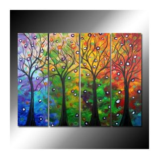 Fine Art wallpaper probably with a stained glass window entitled Trees in Autumn Oil Painting - Set of 4