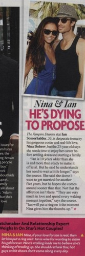 Ian Somerhalder and Nina Dobrev wallpaper containing a newspaper and anime entitled US Weekly Magazine