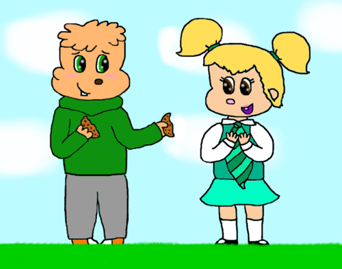 theodore and eleanor karatasi la kupamba ukuta containing anime entitled Want half my cookie?