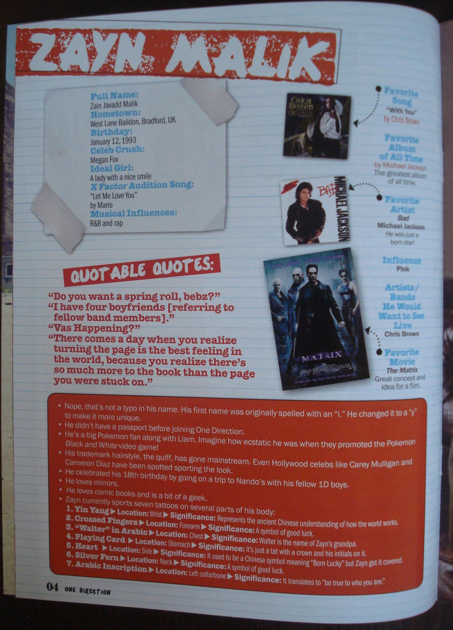Zayn Malik Facts, from One Direction Magazine (Philippines)