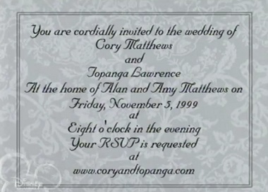 cory and topanga wedding invitation