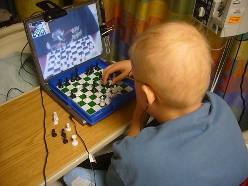 evan playing virtual chess