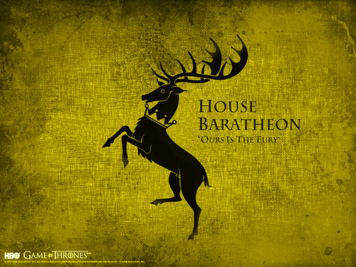 Game of Thrones wallpaper probably with a sign titled House Baratheon