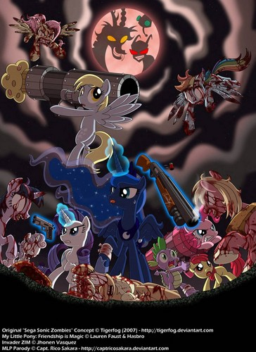 my little ponys and invader zim in zomble ponys