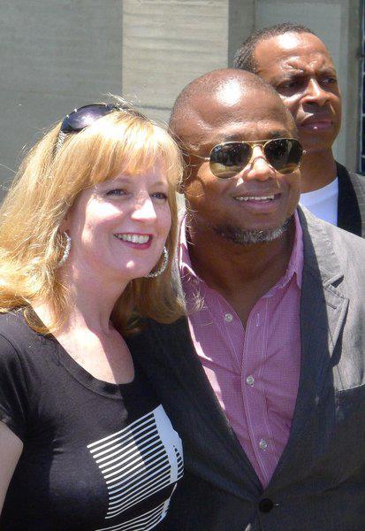 randy jackson with fan at forest lawn, glendale LA june 25th 2012