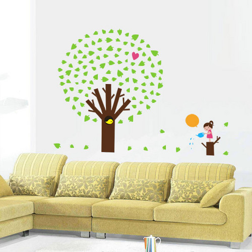 pomme arbre with girl mur Sticker