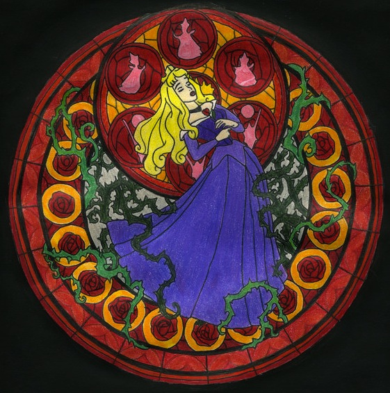 putri disney gambar aurora stained glass wallpaper and backg