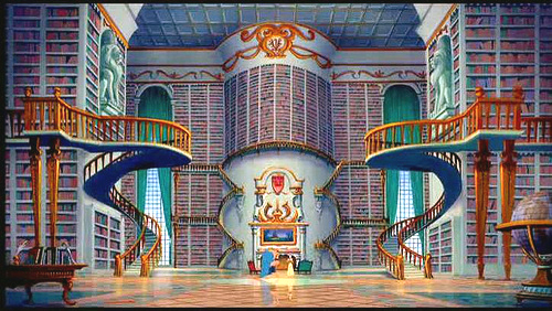 Beauty and the Beast Library wallpaper probably with a brownstone, a city scene, and a multiplex in The Disney Princess Club