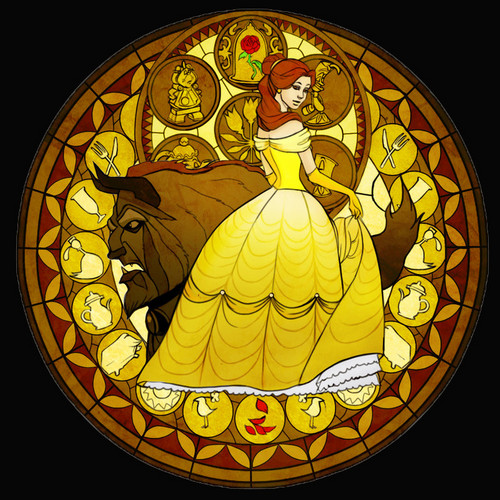 Beauty and the beast stained glass wallpaper