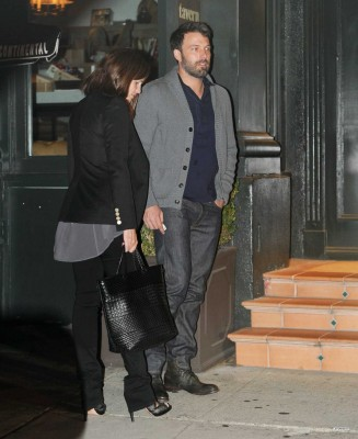 Ben and Jen arriving in a restaurant to celebrate their 7th wedding anniversary
