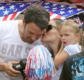 Ben and Jen with their 3 kids watch 4th of july parede - ben-affleck-and-jennifer-garner photo