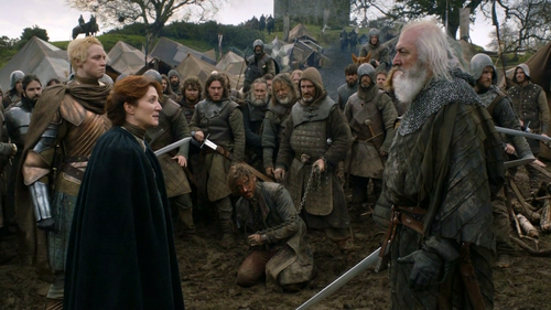 Catelyn and Brienne with Jaime and Karstark
