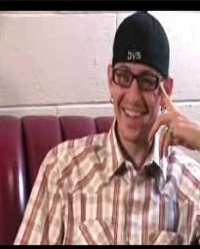 Chester Bennington laughing.