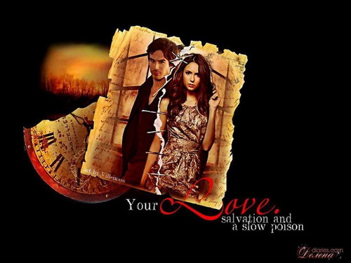 Damon & Elena - the-vampire-diaries Wallpaper