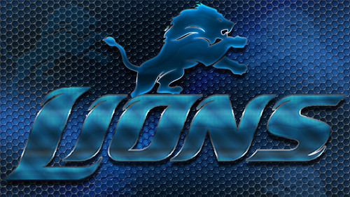Detroit Lions Heavy Metal 16x9 Text N Logo پیپر وال